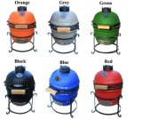 Blue Portable Trolley Outdoor Ceramic BBQ Grill Kamado