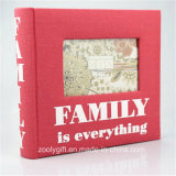 Printed Red Fabric Family Photo Album with Windows