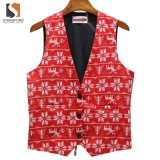 Loom-State Printing Christmas Men′s Woven Red Vest with Lining