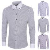 Men′s Regular Fit Non Iron Solid Stripe Dress Shirt (A419)