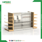 Metal Wooden Gondola Supermarket Shelf Display Rack