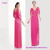 Shiny Short Sleeve V-Neck, and Drop Style Long Chiffon Prom Dress