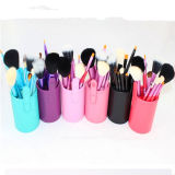 12PCS Different Color Cylinder Soft Hair Portable Cosmetic Brushes Set
