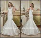 Bateau Lace Wedding Dress Sequins V-Back Bridal Gown W15240