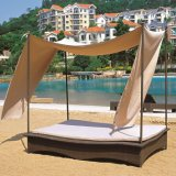Outdoor Patio Garden Sun Lounger Canopy Wicker Rattan Day Bed (TG-JW100)