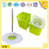 Household Stainless Steel Pole Flat Dust Cleaning Magic Spin Mop