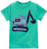 Fashion Green Patch Embroidery Kids T-Shirt with 100% Cotton (A157)