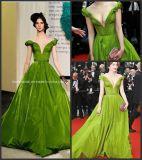 off-Shoulder Taffeta Ball Gowns Green Sash Oscar Quinceanera Dress Z7017