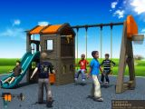 Kaiqi Small Children′s Swing and Slide Playground Sets with Basketball Hoop (KQ50131D)