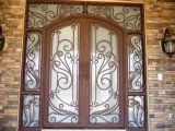Entry Doors Type and Finished Surface Finishing Wrought Iron Exterior Door with Sidelight (UID-D104)