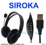 USB Plug Skype Headphone with Black Color