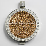 2015 Fashion Stainless Steel Crystal Coin Locket Pendant