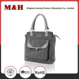 Multi-Pocketed Gray Designer Leather Fashionable Handbag