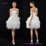 Petite A-Line Strapless Short Knee-Length Satin Tulle Cocktail Party Dress