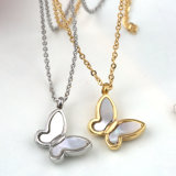 Lady Fashion Jewelry Stainless Steel White Shell Butterfly Pendant Necklace
