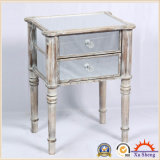 Mirrored 2-Draw Wooden Storage Nightstand Chest for Bedroom
