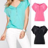 Pima Cotton Wholesale Custom Cheap Womens T Shirts with Zipper