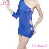 Beautiful Blue One Shoulder Hollow out Erotic Sexy Babydoll Lingerie