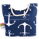 New Navy Striped Canvas Beach Bag Shopping Bag