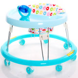 Four Colors Rolling Round Base Baby Walker with Silicon Wheels
