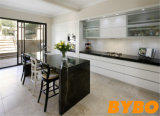White High Glossy Finish with Black Bentch Top Kitchen Cabinet (BY-L-62)