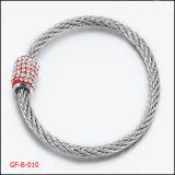 Stainless Steel Bracelet with Diamond Clasp