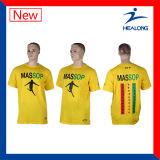 Healong 65 Cotton 35 Polyester Silk Screen Printing Men T-Shirt