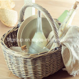 Outdoor Customized Natural Color Wicker Picnic Basket in Food-Safe Quality