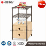 Home Black Square Steel-Wooden Furniture with Wood Cabinet Bottom
