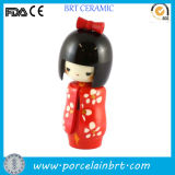 Shyness Red Kimono Flower Ceramic Japanese Girl Doll