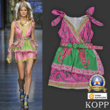 High End Runway Celebrity Style Contrast Color Silk Dress