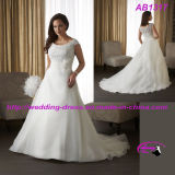 Plus Size A Line Organza Wedding Dress with Scoop Neckline