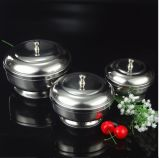 3peices Stainless Steel Round Sugar Pot (JX-031)