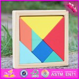 2016 Wholesale Baby Wooden Tangram Puzzles, Funny Kids Wooden Tangram Puzzles, 7-Pieces Wooden Tangram Puzzles W14A178