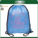 Custom Print Reusable Quality Polyester Backpack Drawstring Bag
