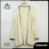 Women Winter Fur Cardigan Sweater with Leather Patch