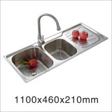 Stainless Steel One Stretched Kitchen Sink (11046-2)