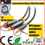 3.5mm Stereo Plug to 2RCA Plug Cable for Sound (HL-127)