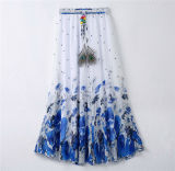 2016 Latest Design Women Printed Chiffon Beach Bohemian Skirt (16701)