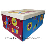 Multipurpose Child Toy Printing Paper Cardboard Foldable Storage Box with Metal Button and Finger Hole