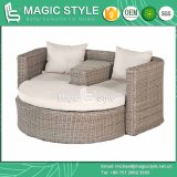 Rattan Daybed Wicker Daybed Balcony Sunbed Bench Daybed Double Sofa Leisure Daybed Outdoor Furniture Garden Furniture (Magic Style)
