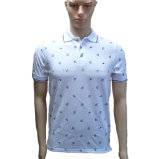 Pique Mesh White Polo Shirt with Full Printing