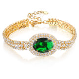 Wholesale Fashion Costume Jewelry Green Gemstone Cubic Zirconia Gold Bracelet
