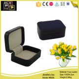 Simple and Small Cheap Square Jewelry Leather Black Box (8068)