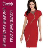 Woman Elegant Knee-Length Bodycon MIDI Slim Pencil Party Dress (L36051-2)