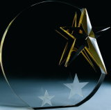 Crystal Award Crafts with Laser Golden Stars Logo