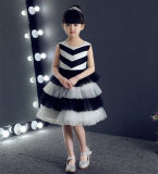Knee Length Black White Children Party Dress