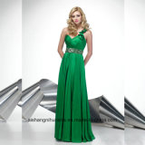 Shining One-Shoulder Crystals Satin Evening Party Prom Dress