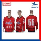 Healong Latest Full Sublimated Custom White Ice Hockey Jersey