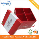 Food Separate Inside Packing Paper Box with Red Handle (QY150056)